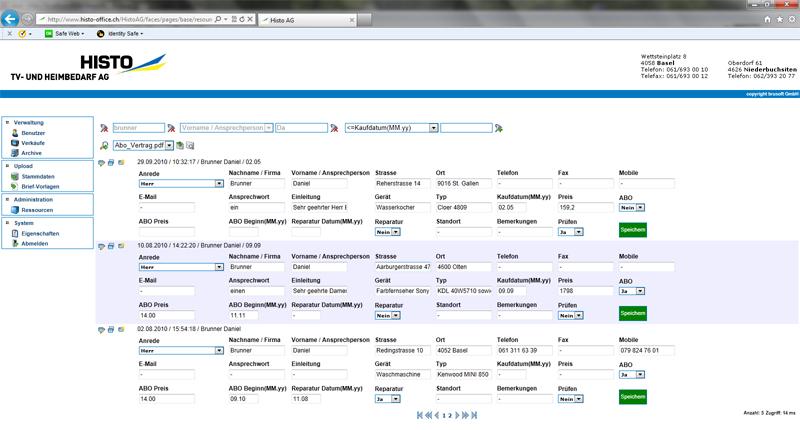 Auftragsdatenverwaltung (Histo AG)